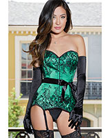 EMERALD Satin Corset - up to Size 3/4XL