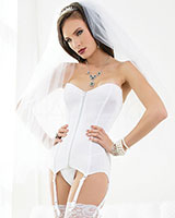 BLUSHING BRIDAL White Corset with Front Zipper - up to 3/4XL