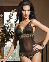 Mesh Teddy with Metallic Lace