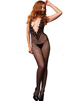 Fishnet Halter Neck Catsuit with Lace