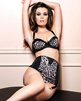 Retro Leopard Bra, Girdle and G-String Set