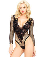 Deep Floral Lace and Net Teddy