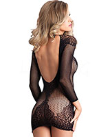Net and Lace Long Sleeved Mini Dress