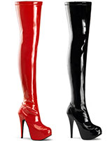 "Hidden Platform Stretch Patent Leather Overknees - 5¾"" Heel"