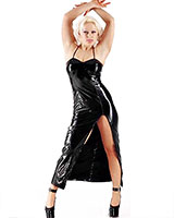 Long Gloss PVC Dress with Small Straps