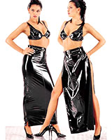 Long Gloss PVC Skirt with Zipped Slits
