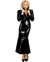 Long Gloss PVC Dress with Collar