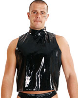 Gloss PVC Muscle Shirt with High Neck