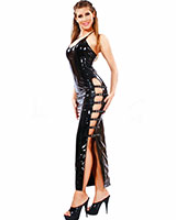 Long Gloss PVC Dress with Buckled Slit