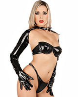 Gloss PVC Gloves with Collar
