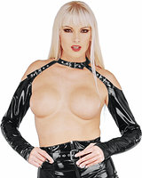 Gloss PVC Gauntlets with Collar