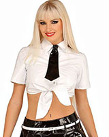 Gloss PVC School Girl Top with Tie