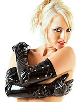 Gloss PVC Gloves with Studs