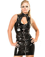Black Gloss PVC Saucy Buckle Mini Skirt - up to Size 6XL