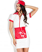 Indecent Orderly Gloss PVC Nurse Dress with Apron and Cap