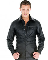 Men's Leatherette Fitted Shirt