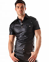 Men's Leatherette Military Top