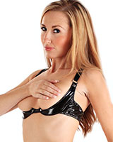 Gloss PVC Black Quarter Cup Bra