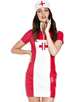 Mischievous Medic Gloss PVC Nurse Dress with Cap