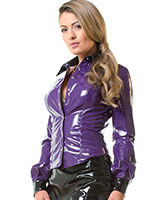 Gloss PVC Miss Education Shirt - Purple with Black - up to 6XL
