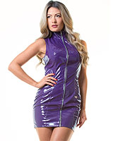 Gloss PVC Purple Samantha Dress - up to Size 6XL