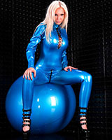 Front Laced Latex Catsuit with Zipper Through Crotch