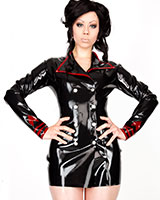 Glued Latex Military Style Jacket