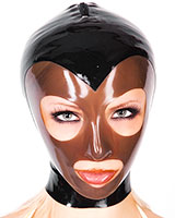 Female Latex Hood with Contrast Colour Face Mask and Zipper