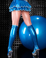 Contrast Trimmed Latex Stockings- Length 56 cm