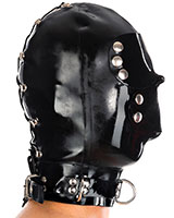 1mm Latex Bondage Hood with Eye and Mouth Flaps and Zipper