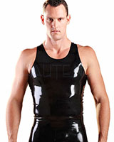 Glued Black Rubber Y-Back Singlet