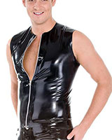 Glued Black Rubber Front Zipped Sleeveless Shirt