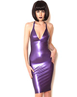 Mystic Purple Glued Latex Halter Dress