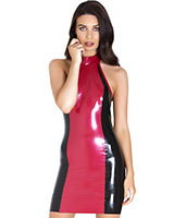 Paradox Latex Panel Dress Black and Metallic Red