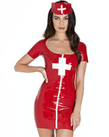 Latex Nymph Nurse Uniform with Cap
