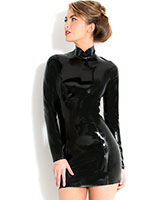 Glued Black Latex Midnight Dress - up to Size 4XL