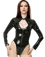 Glued Black Latex Long Sleeved Body - Size S