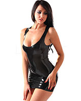 Glued Black Latex Luna Vest Dress