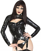 Glued Black Latex Bolero Jacket