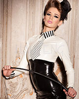 Glued Latex Cherie Shirt with Tie - Size S