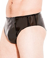 Herrenslip aus geklebtem smokeytransparentem Latex