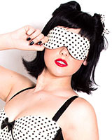 Rockabilly Stitched Latex Polka Dots Blindfold