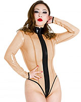 Glued Nude Latex Boulevard Long Sleeved Body with 2 Way Zipper