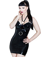 Brustfreies schwarzes Latexkleid Devotion