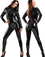 Glued Black Latex Catsuit with 2Way Back Zipper