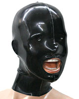Glued Latex Hood with Small Eyes Holes and Back Zipper