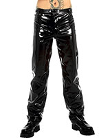 Stitched Men's Black Latex Jeans