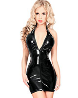 Datex Mini Dress with Deep Neckline and Neckholder