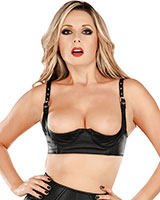 Leather Balconette Bra with Quarter Cups - Shelf Bra