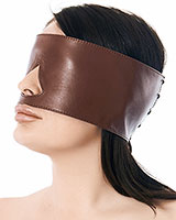 Brown Leather Eye Mask with Back Lacing